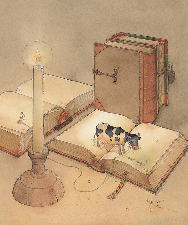 Science Books Cow Candle Reading Poster featuring the painting Bookish Cow by Kestutis Kasparavicius