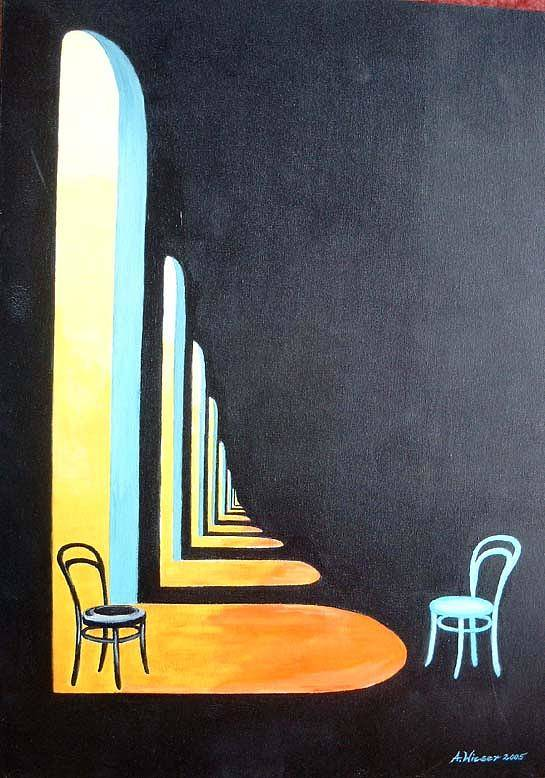 Thonet Poster featuring the painting Boppart by Antje Wieser