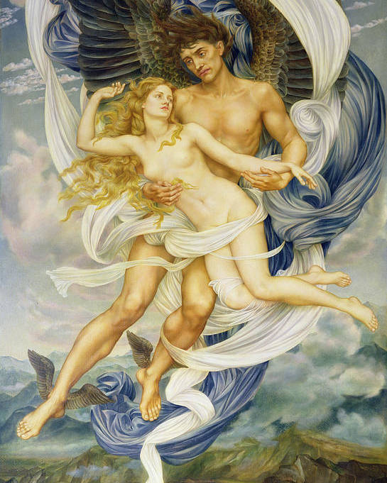 God Of North Wind; Wife; Kidnapping; Carrying Off; Greece; Greek; Wings; Flying; Nude; Female; Drapery; Pre-raphaelite; Winged Feet; Erotic; Abduction; Rape; River; God; Goddess; Orithyia;enlevement;rapt;boree;orithye Poster featuring the painting Boreas And Oreithyia by Evelyn De Morgan
