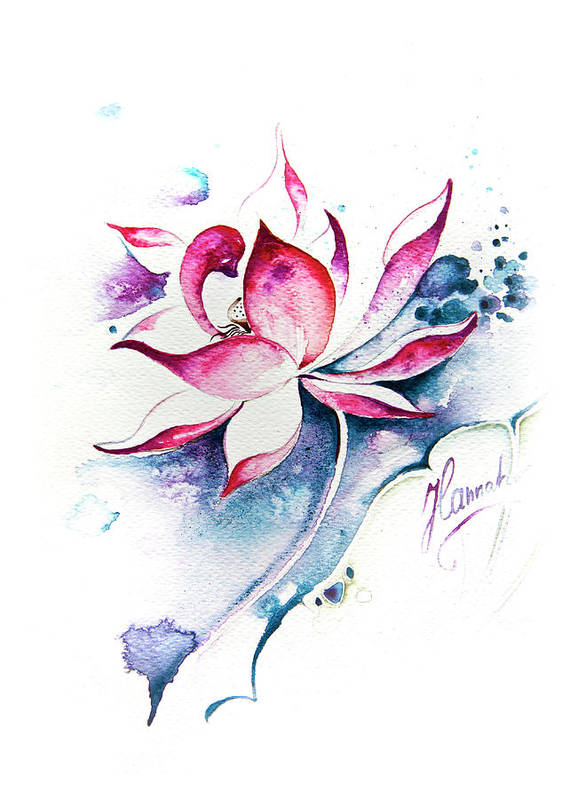 Lotus Flower Poster featuring the painting Born For Freedom by Anna Ewa Miarczynska