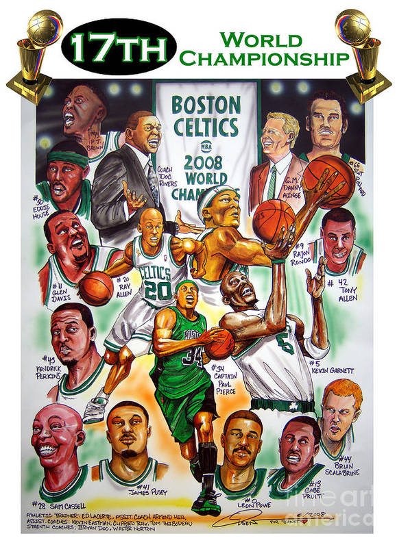 Nba Poster featuring the painting Boston Celtics World Championship Newspaper Poster by Dave Olsen