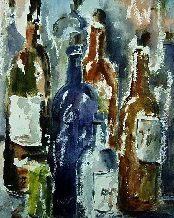 Still Life Poster featuring the painting Bottle In A Dusty Cellar by Wilfred McOstrich