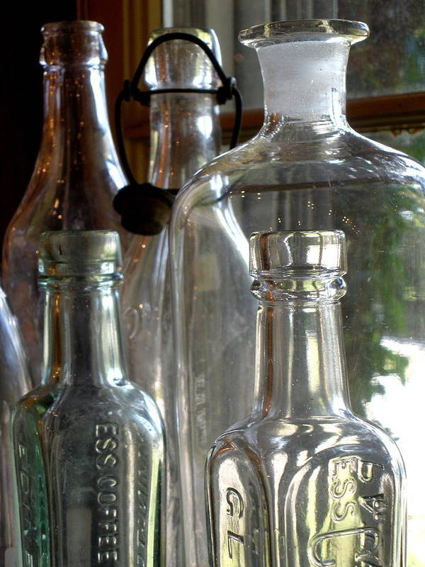 Glass Poster featuring the photograph Bottle Necks by Richard Mansfield