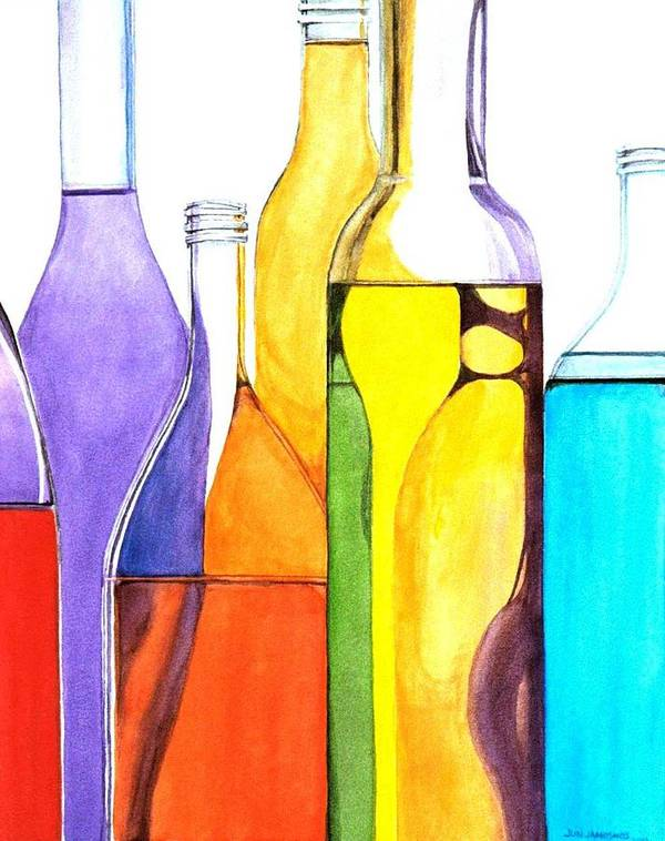 Bottle Poster featuring the painting Bottled Rainbow 1 by Jun Jamosmos