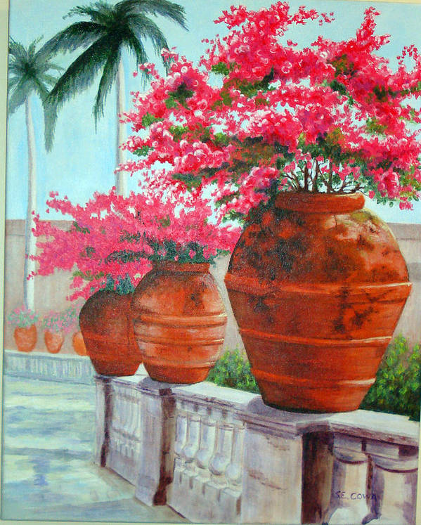 Landscape Poster featuring the painting Bougainvillea Pots by SueEllen Cowan