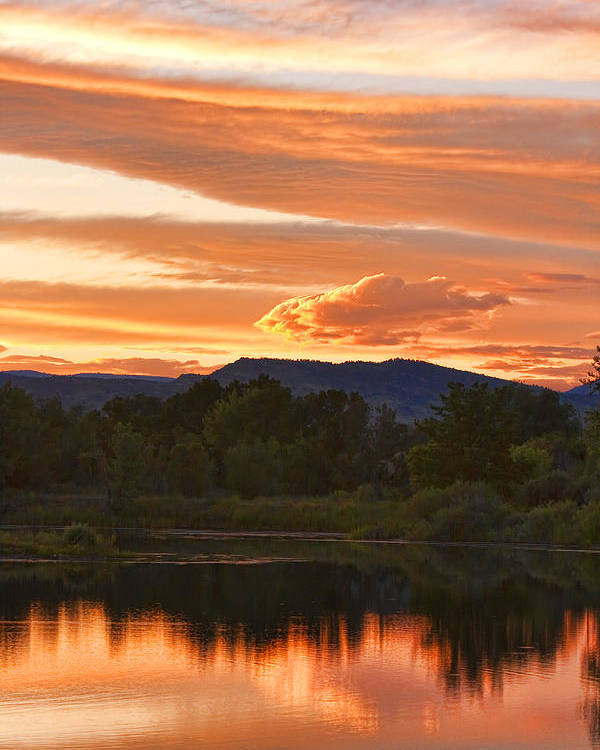 nature Photography Poster featuring the photograph Boulder County Lake Sunset Vertical Image 06.26.2010 by James BO Insogna