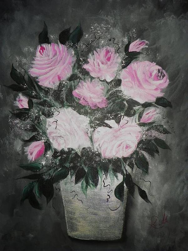 Acrylics Poster featuring the painting Bouquet Of Roses by Laurie Kidd