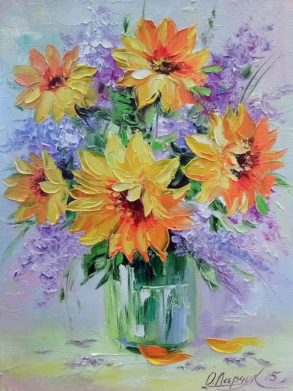 Bouquet Of Sunflowers Poster featuring the painting Bouquet Of Sunflowers by Olha Darchuk