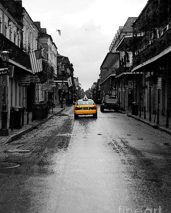 Travelpixpro French Quarter Poster featuring the digital art Bourbon Street Taxi French Quarter New Orleans Color Splash Black And White Watercolor Digital Art by Shawn O'Brien