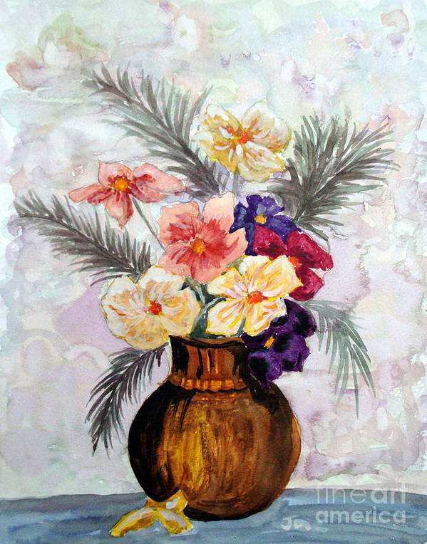 Painting Poster featuring the painting Bowl Of Flowers by Jacqui Kilcoyne