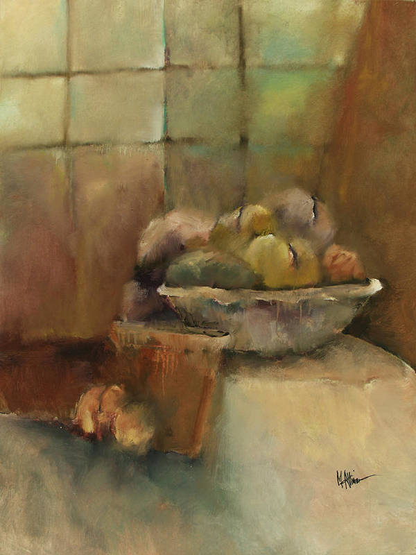 Contemporary Poster featuring the painting Bowl Of Fruit by M Allison