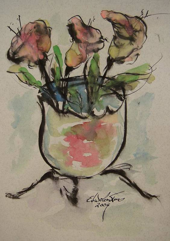 Floral Poster featuring the painting Bowl Vase by Edward Wolverton