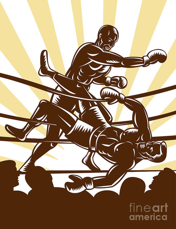 Boxing Poster featuring the digital art Boxer Knocking Out by Aloysius Patrimonio
