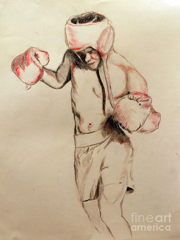 Male Poster featuring the drawing Boxer by Lori Moon