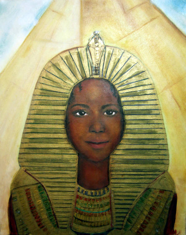 Egyptian Poster featuring the painting Boy King by Michela Akers