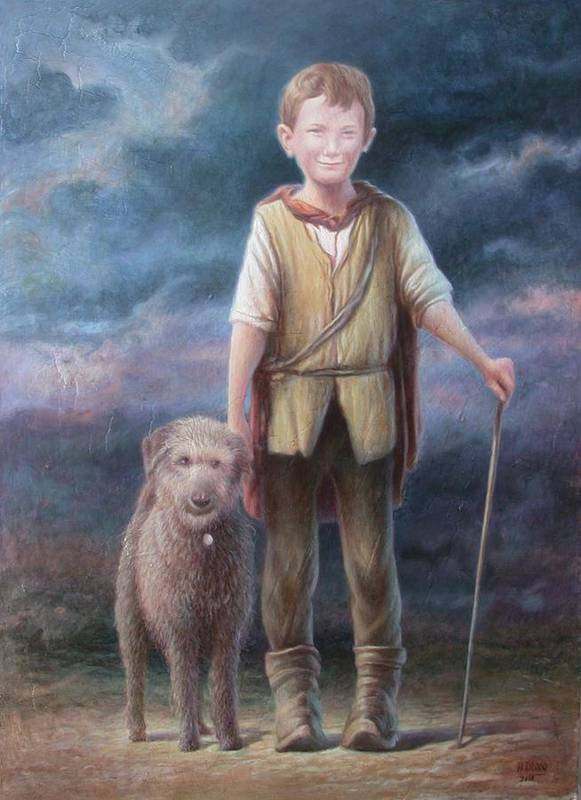 Boy Poster featuring the painting Boy With Dog by Hans Droog