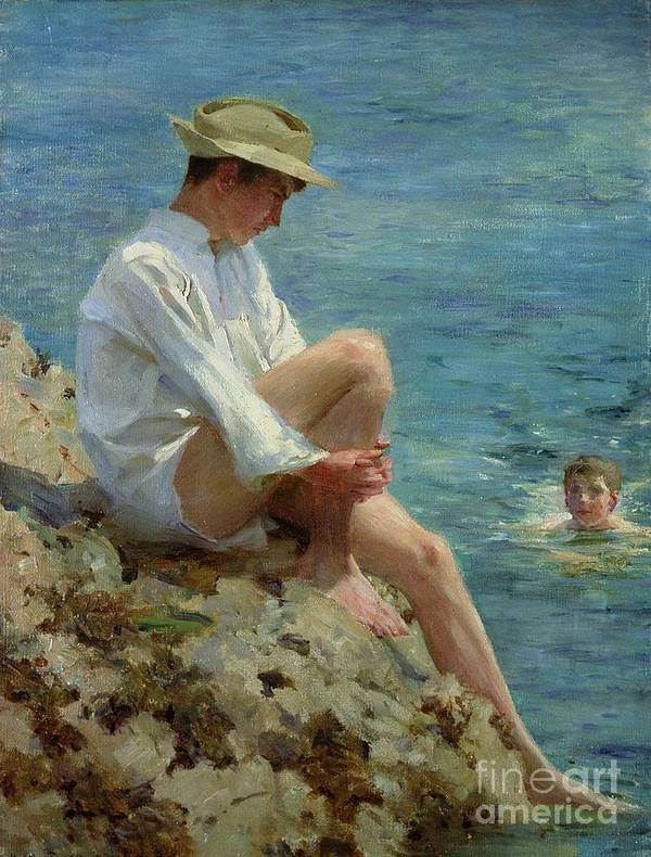 Boys Poster featuring the painting Boys Bathing by Henry Scott Tuke