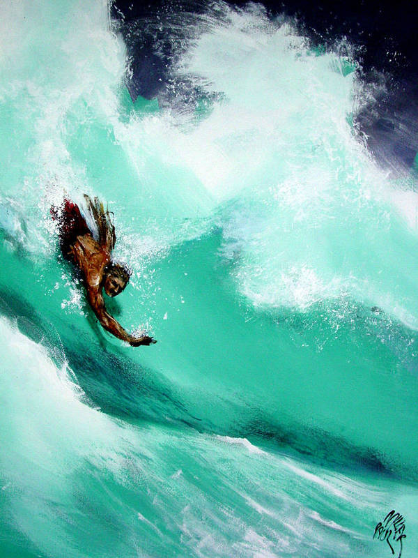 Body Surfer Poster featuring the painting Brad Miller In Makaha Shorebreak by Paul Miller
