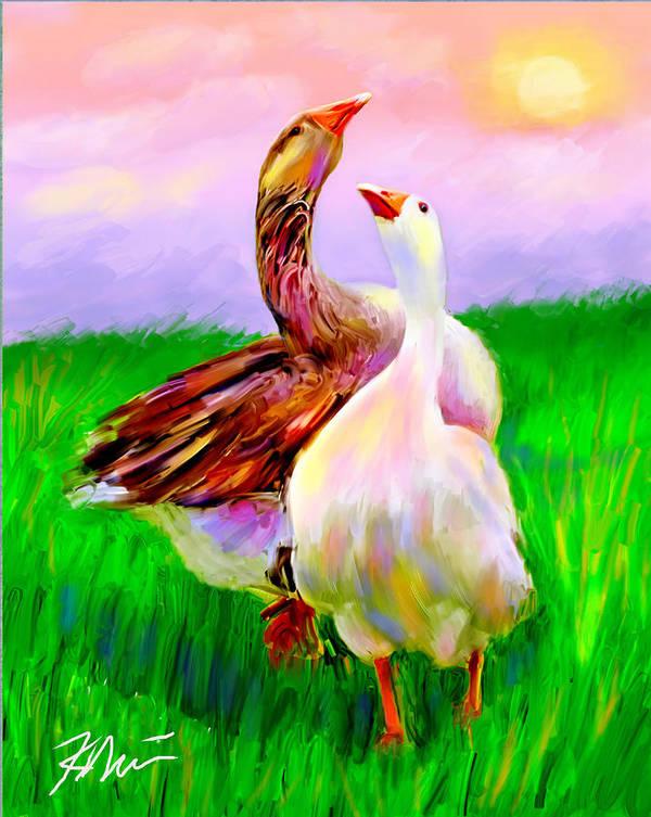 Geese Poster featuring the digital art Brady And Autumn by Karen Derrico