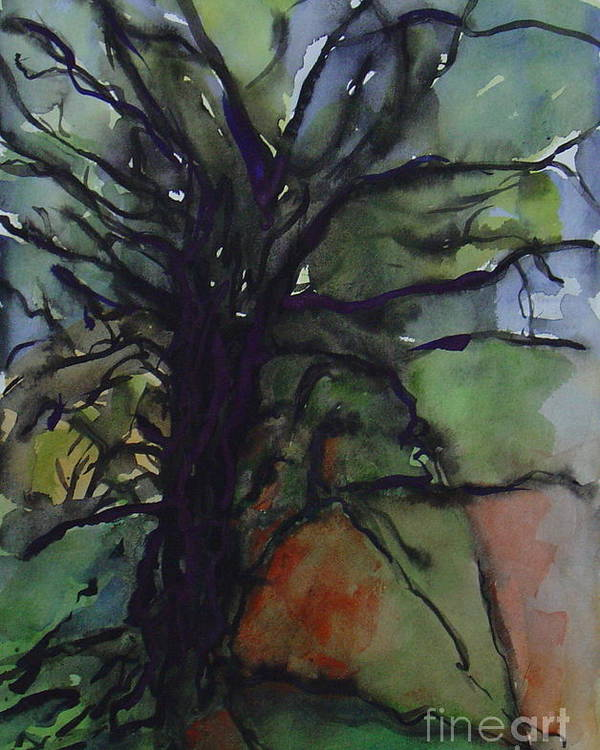 Tree Landscape Abstract Watercolor Original Blue Green Poster featuring the painting Branching by Leila Atkinson