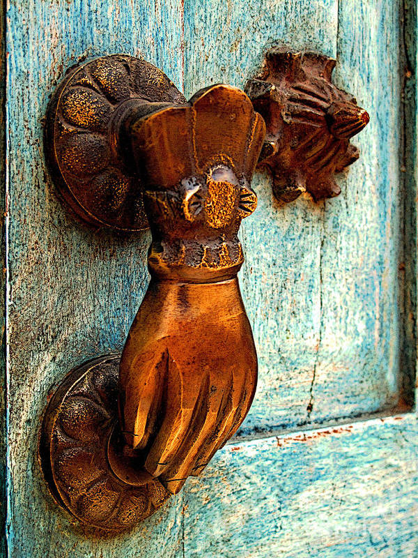 Darian Day Poster featuring the photograph Brass Hand On The Blue Door by Mexicolors Art Photography