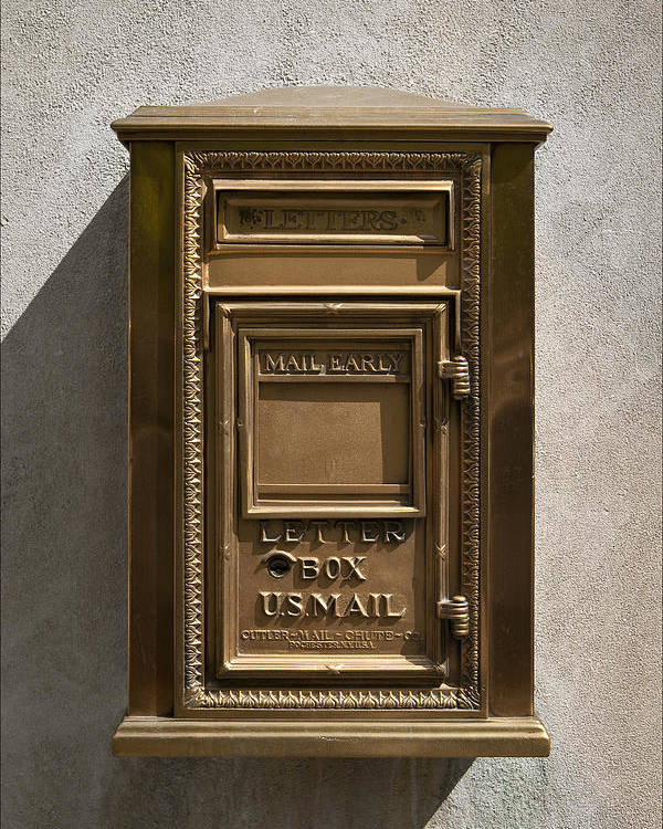 Mail Poster featuring the photograph Brass Mail Box Nyc by Robert Ullmann