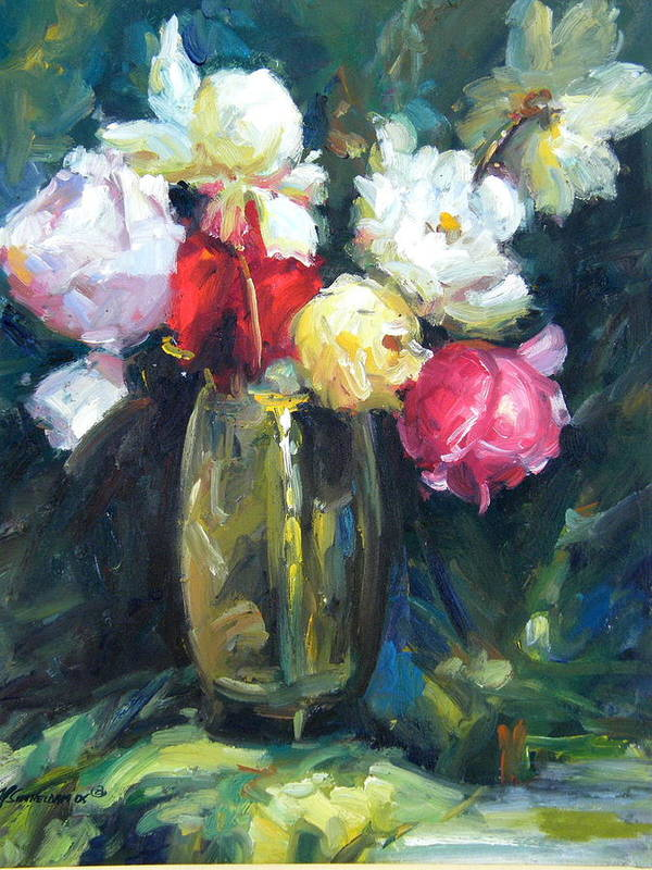 Flowers Poster featuring the painting Brass Vase by Imagine Art Works Studio