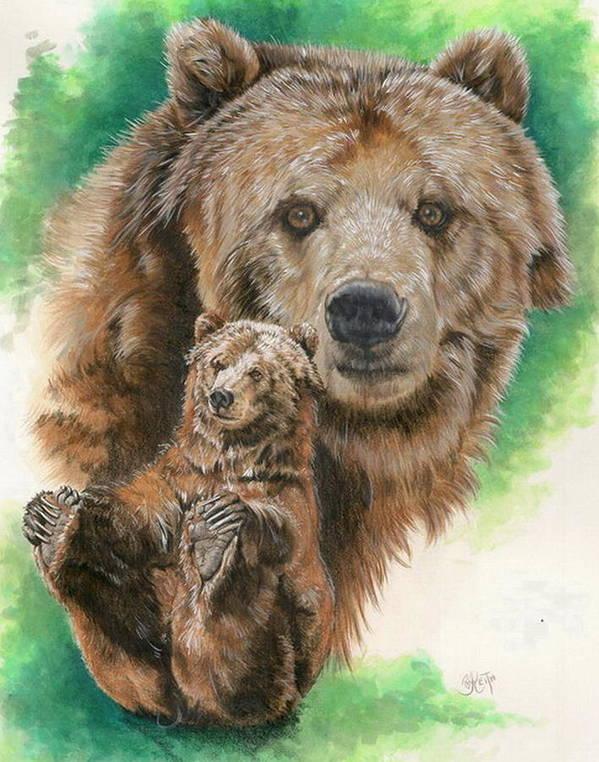Bear Poster featuring the mixed media Brawny by Barbara Keith