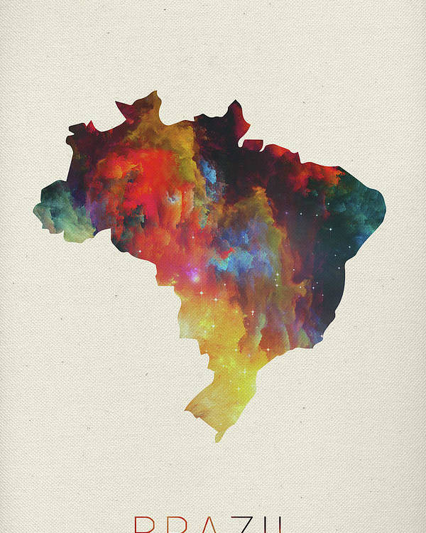 Brazil Poster featuring the mixed media Brazil Watercolor Map by Design Turnpike