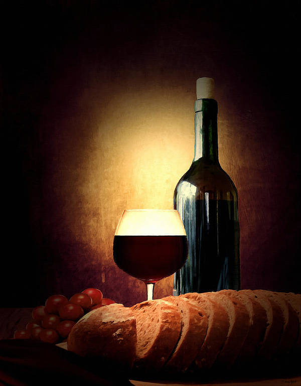 Wine Poster featuring the photograph Bread And Wine by Lourry Legarde