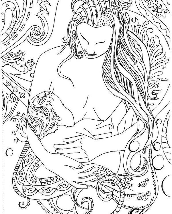 Birth Poster featuring the drawing Breastfeeding Is Beautiful by Kate Evans
