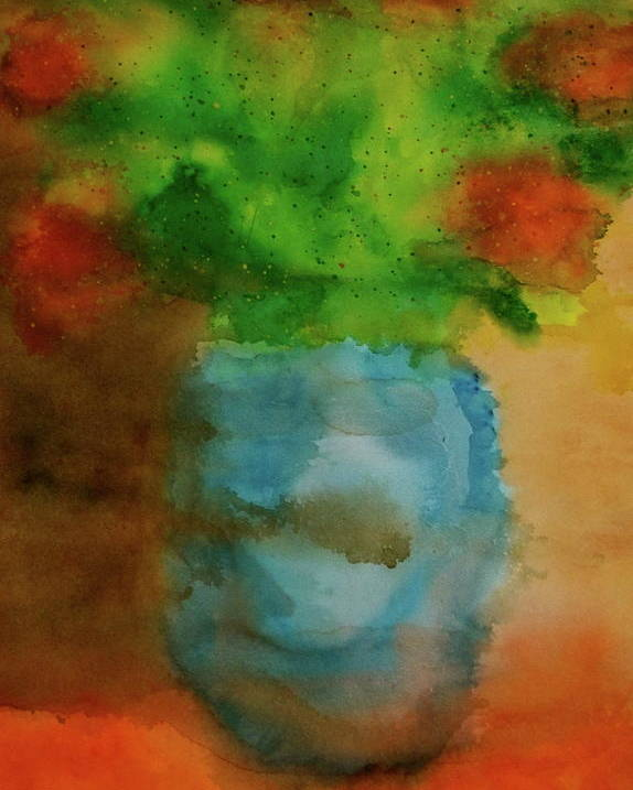 Yoga Meditation Abstract Still Life Flowers Summer Poster featuring the painting Breathing In Color by Scott Harrington