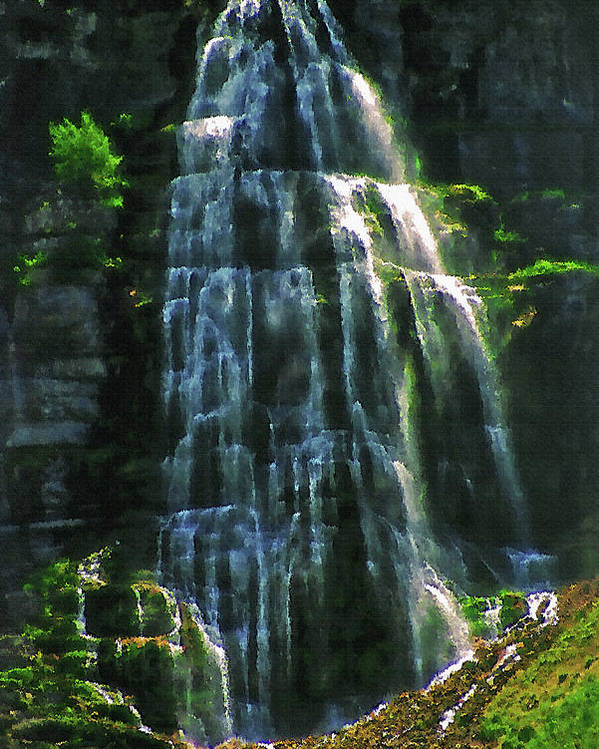 Water Poster featuring the photograph Bridal Veil Falls Canvas 2 by Steve Ohlsen