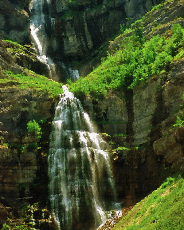 Falls; Fall; Waterfall; Nature; Natural; Water; Falling Water; Cascading Water; Cascading; Falling; Cascading Falls; Cascading Waterfall; Cool; Fresh; Pure; Clean; Rejuvenating; Refreshing; Tranquil; Peaceful; Calming; Quiet; Meditative; Mountainous; Mountains; Summer; Summertime; Scenic; Scenery; Landscape; Rock; Rocky; Canyon Wall; Cliff; Canyon; Provo Canyon; Utah; Bridal Veil Falls; Environmental; Environment; Resource; Earths Resources; Digital Art; Textured; Painterly; Canvas; Artistic Poster featuring the photograph Bridal Veil Falls Canvas 3 by Steve Ohlsen