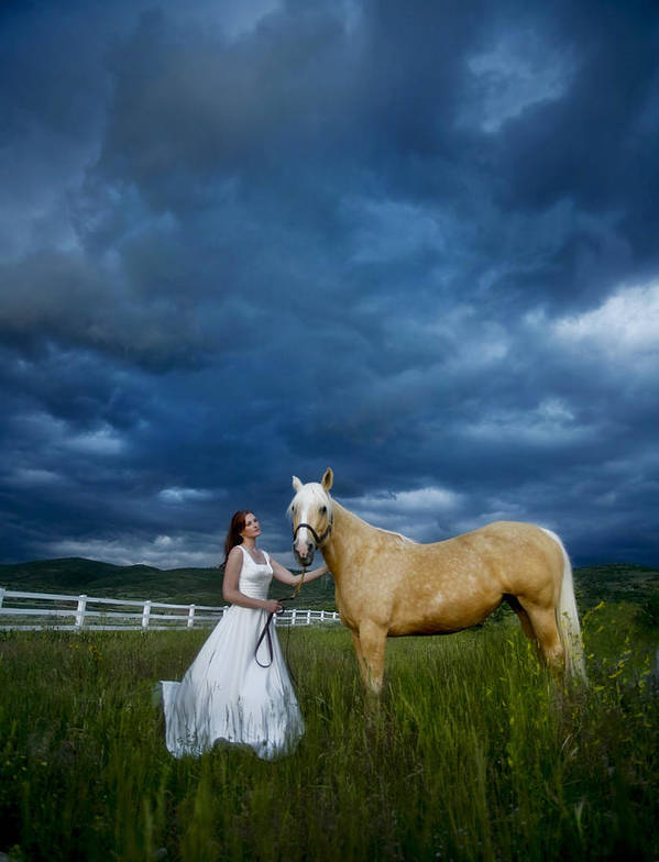Beautiful Poster featuring the photograph Bride And Horse With Storm by Nick Sokoloff