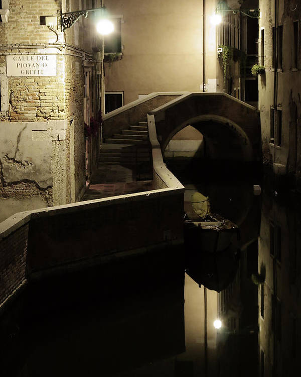 Venice Poster featuring the photograph Bridge and Canal in Venice at Night by Michael Henderson