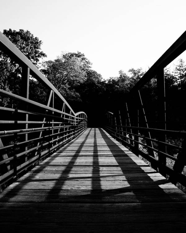 Bridge Trees Wood Steel Light Shadow Minnesota Contrast Poster featuring the photograph Bridge And Tunnel - B/w by Pete Mikelson