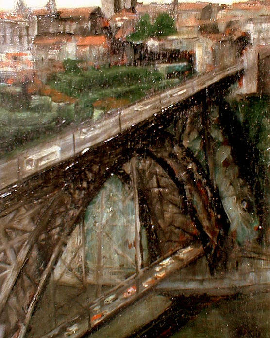 Porto Poster featuring the painting Bridge Luis I-Oporto by Tomas Castano