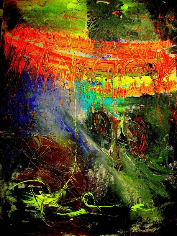 Abstract Prinst Poster featuring the painting Bridge To Heaven by Teo Santa