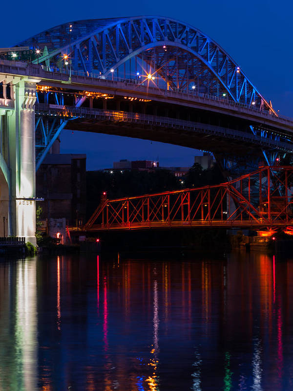 Cleveland Poster featuring the photograph Bridges Red White And Blue by Stewart Helberg