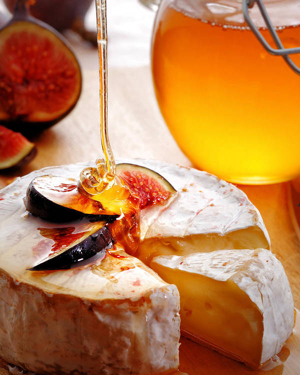 Brie Poster featuring the photograph Brie Cheese With Figs And Honey by Johan Swanepoel