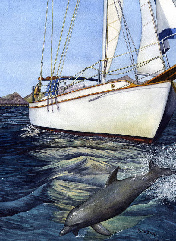 Sailing Poster featuring the painting Brief Encounter by Catherine G McElroy