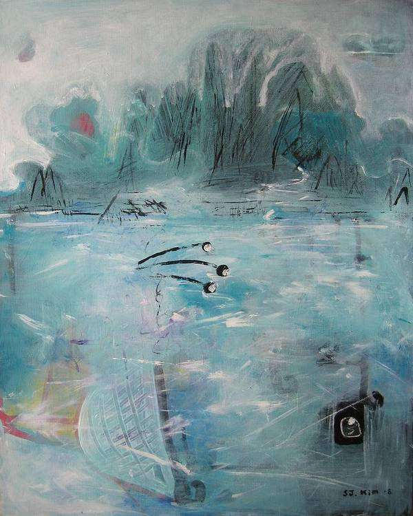 Abstract Paintings Poster featuring the painting Brierly Beach by Seon-Jeong Kim