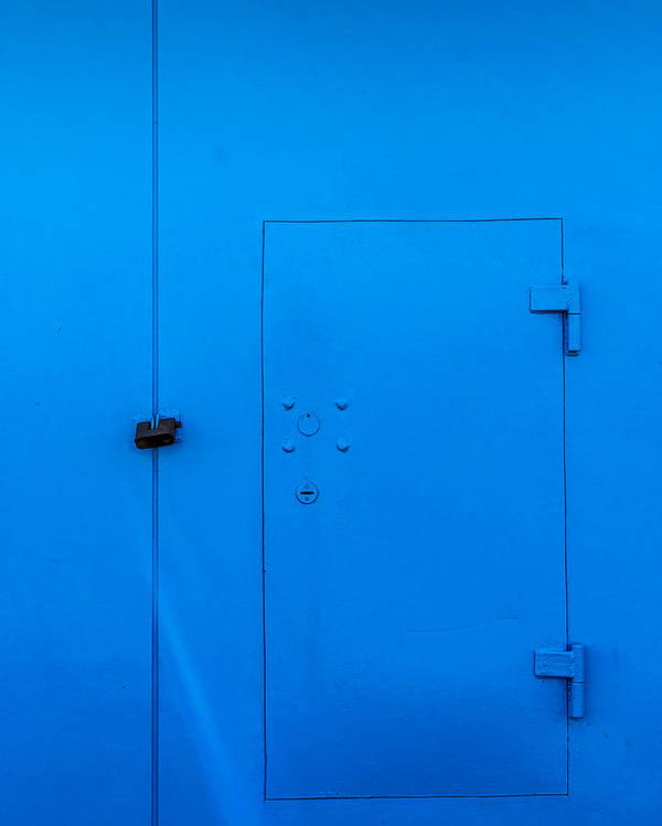 Bar Poster featuring the photograph Bright Blue Locked Door And Padlock by John Williams