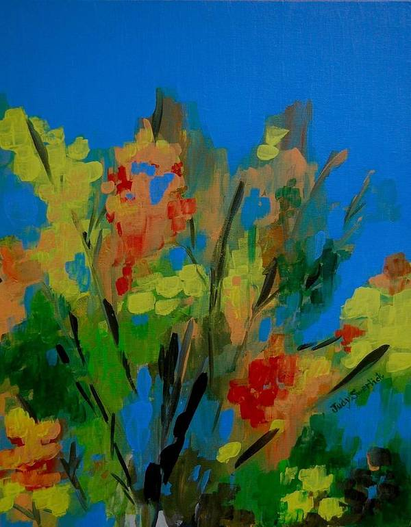Nature Poster featuring the painting Bright Flowers On Blue by Judy Swerlick