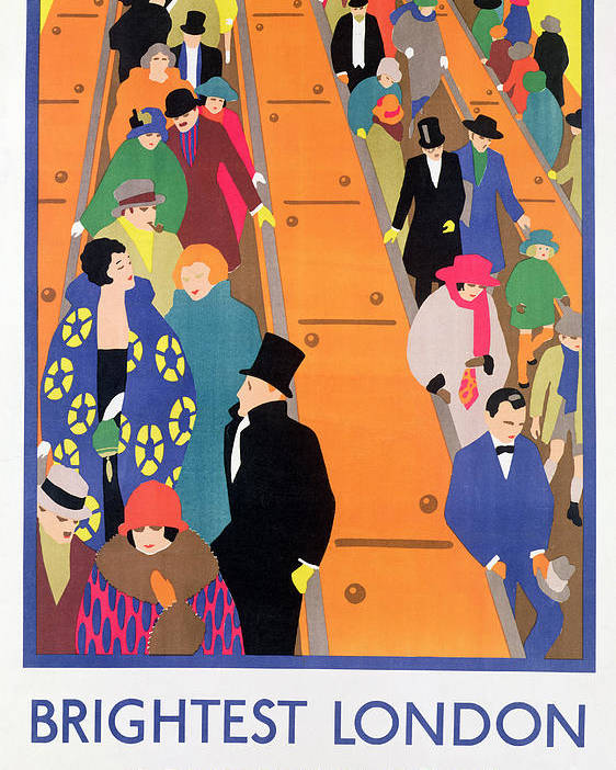 Advertisement; Poster; Tube; Crowd Poster featuring the painting Brightest London Is Best Reached By Underground by Horace Taylor