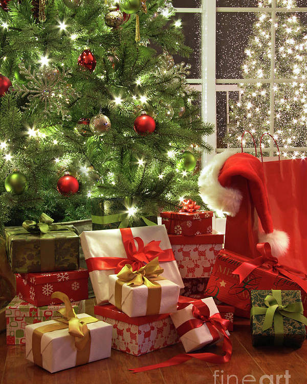 Background Poster featuring the photograph Brightly Lit Christmas Tree With Lots Of Gifts by Sandra Cunningham