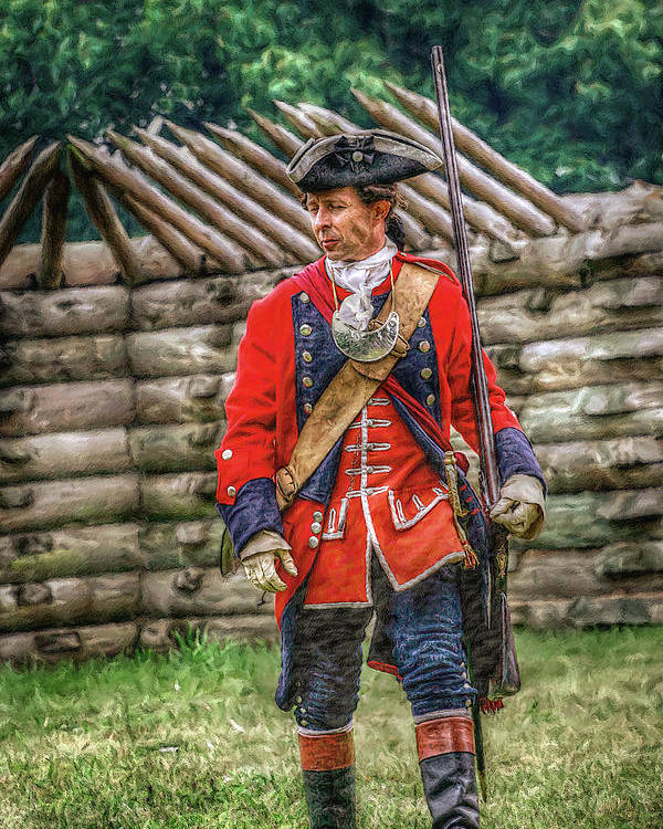 Uniform Poster featuring the digital art British Officer At Fort Ligonier 1758 by Randy Steele