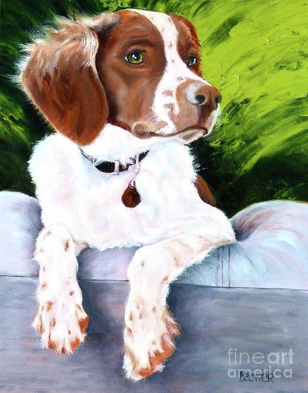 Spaniel Poster featuring the painting Brittany Spaniel by Susan A Becker