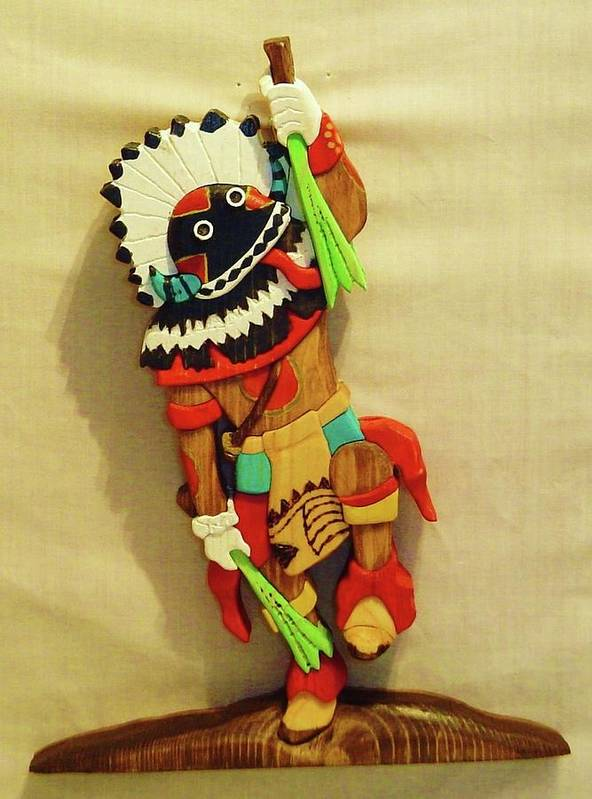Intarsia Poster featuring the sculpture Broad Faced Kachina by Russell Ellingsworth